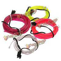 2м неоновый свет свечение El провода веревку прокладка автомобиля + Автомобильное зарядное устройство драйвер