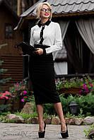 Женская классическая юбка карандаш ниже колен с завышенной талией