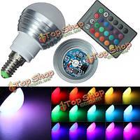 Е14 3вт ИК-пульт дистанционного управления 16 изменение цвета RGB LED шаровые лампы 85-265v, фото 1