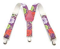 Детские подтяжки-резинка в цветочек фиолетовые