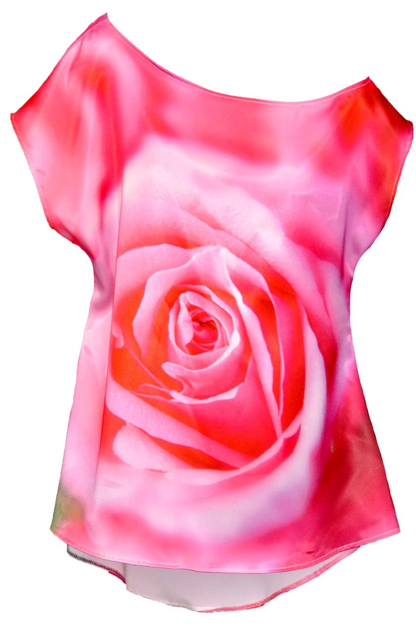 ТНК-004. Туніка жіноча з принтом Рожева троянда