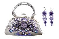 Кожаная сумочка с вышивкой бисером и натуральными камнями, фото 1