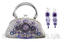 Кожаная сумочка с вышивкой бисером и натуральными камнями