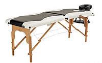 Массажный стол Body Fit 2-х сегментный деревянный (черно-белый) , фото 1