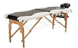 Массажный стол Body Fit 2-х сегментный деревянный (черно-белый)