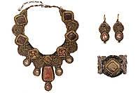 """Колье серьги и браслет из натуральных камней """"Солнце Тибета"""", фото 1"""