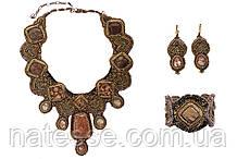 """Колье серьги и браслет из натуральных камней """"Солнце Тибета"""""""