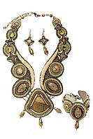 """Колье браслет и серьги из натуральных камней и бисера """"Эльдорадо"""""""