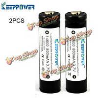 2шт KeepPower 14500 800мАh 3.7V перезаряжаемые аккумуляторы защищены
