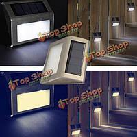2X белый солнечной энергии LED лестницы путь сад двор настенный светильник