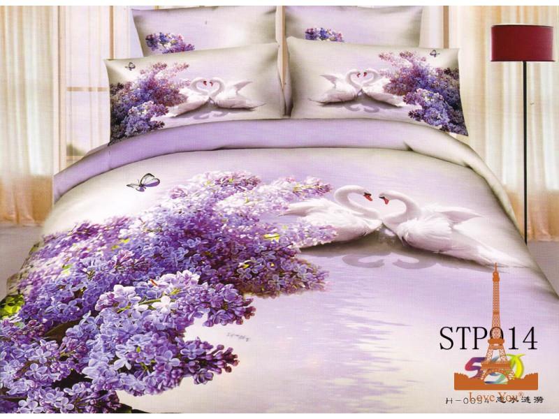 Комплект постельного белья Полуторный 3D Сатин 160Х220 Сирень stp 914