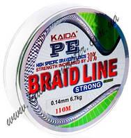 Плетеный шнур 0,18 мм Kaida Braid Line strong YX-112-18, шнур плетеный рыболовный, плетенка кайда