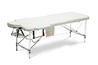 Массажный стол Body Fit 2-х сегментный алюминиевый, стол для массажа, кушетка алюминиевая (белый)