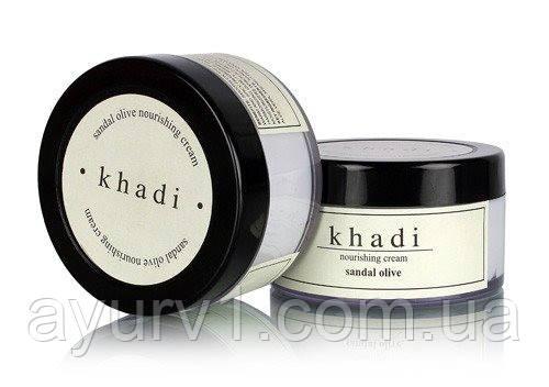 Крем увлажняющий сандал и олива, Кхади / Nourishing crem Sandal Olive, Khadi / 50 g