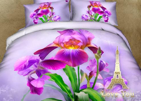 Комплект постельного белья Полуторный 3D Сатин 160Х220 Ирис stp 896