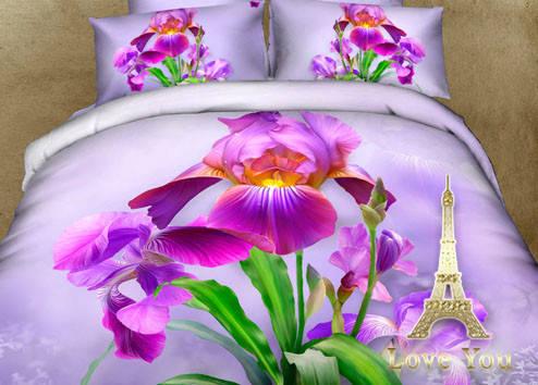 Комплект постельного белья Полуторный 3D Сатин 160Х220 Ирис stp 896, фото 2