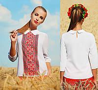 Женская белая блузка с украинским орнаментом, фото 1