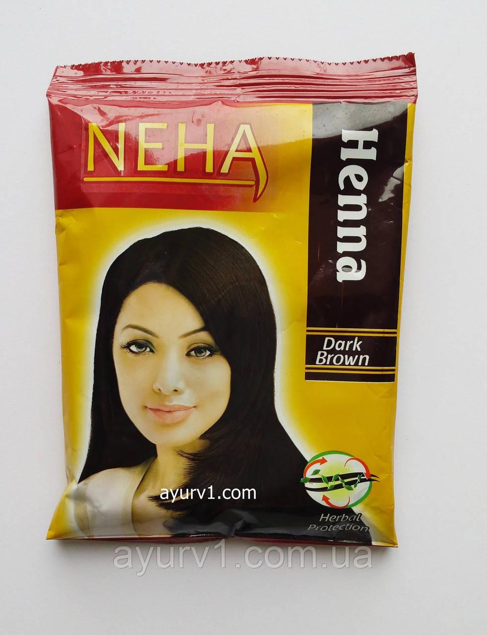 Натуральная хна для волос Неха ,Темный коричневый, Herbal Neha, Dark Brown, 15 г.