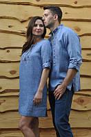 """Мужская вышиванка и женское платье """"легкий голубой лен"""""""