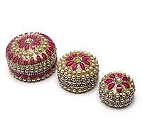 Шкатулки Розовые металические с жемчугом
