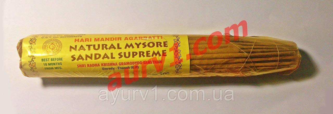 Благовония с сандалом / Hari Mandir Agarbatti, Natural Mysore Sandal Suprame / 100 g