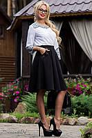 Женская деловая юбка солнце с карманами
