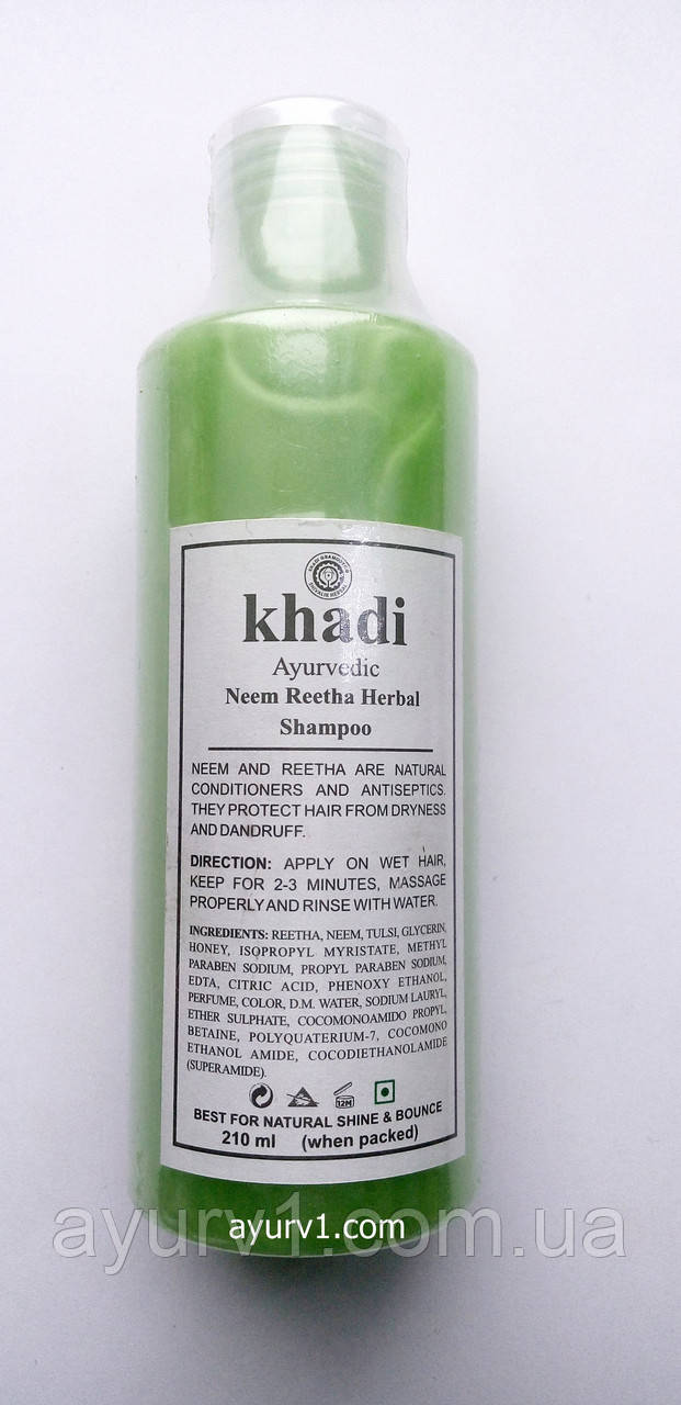Аюрведический шампунь Ним и Ритха, Кхади / Neem Reetha Herbal Shampoo, Khadi / 210 ml