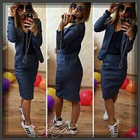 Женский костюм пиджак + юбка стрейч джинс принт горох 50 ЮК, фото 1