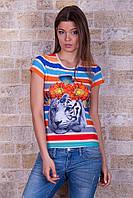 Цветная стрейчевая женская футболка с печатным рисунком Тигр Полоска