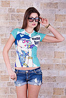 Цветная стрейчевая женская футболка с печатным рисунком Hello, Вoy!