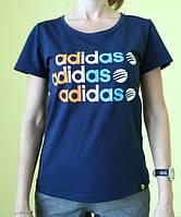Футболка женская тёмно-синяя Adidas (201610) код 190д