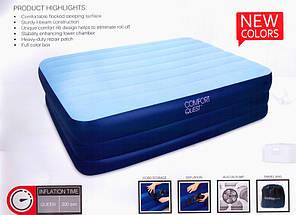 Надувная двухместная кровать с электро насосом bestway 67451 203 см. х 152 см. х 56 см., фото 2