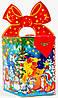 """Новогодняя упаковка из картона  """"Бант веселая лошадка 700г."""" размер 10*10*h17(см.)"""