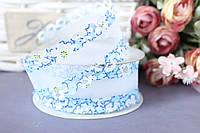 """Лента декоративная """"бант"""" с ажурным краем, 4 см, 20 ярд, синего цвета оптом (рулоном)."""