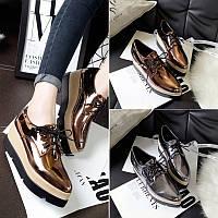 Зеркальные туфли на шнуровке, 3 цвета