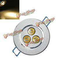 Лампа 3W 300lm осветите 3500k теплый белый LED утопленный потолка свет лампы 85-265v
