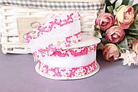 "Лента декоративная ""бант"" с ажурным краем, 4 см, 20 ярд, ярко-розового цвета оптом (рулоном)."
