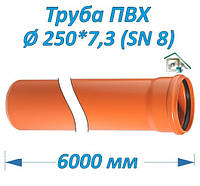 Труба ПВХ 250*7.3*6000 мм, фото 1