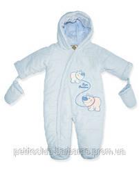 Демисезонный термокомбинезон BEAR Brothers голубой для новорожденных р. 62  см (QuadriFoglio, Польша)