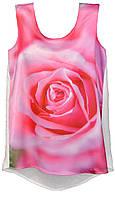 ТНК-021. Туніка жіноча з принтом Рожева троянда