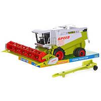 Инерционная детская игрушка комбайн 9115/8089, 36х17,5х16,5см, подвижные детали, в слюде