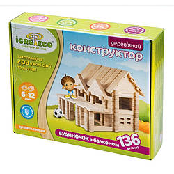 Конструктор из дерева Домик с балконом Игротеко 136 деталей