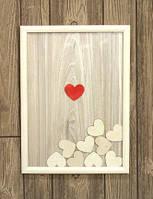 Картина пожеланий 30х40 см с сердечками и подставкой