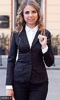 Классический женский пиджак с отложным воротником на пуговицах рукав длинный мемори коттон