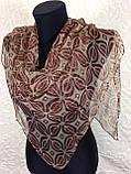 Жіночий тонкий шовковий хустку в бежевому кольорі 85х85 см(кол 26), фото 2