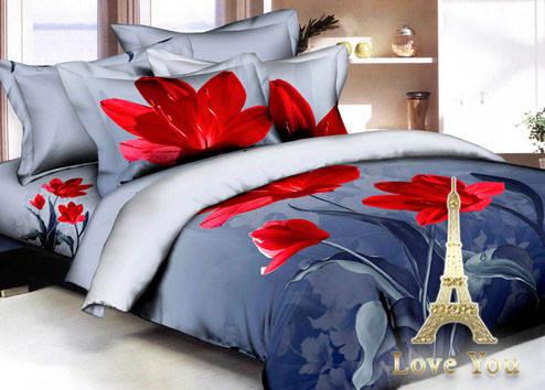 Комплект постельного белья Евро 3D Сатин 200х220  Прохлада stp 12335, фото 2