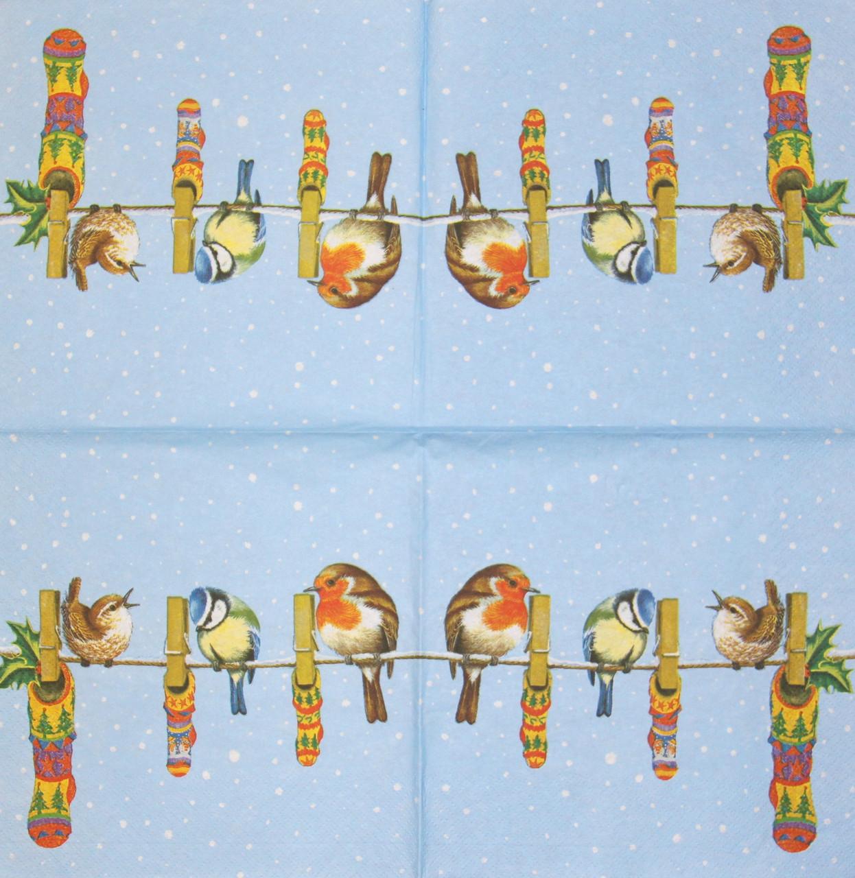 Декупажная салфетка Птички на верёвке 1820