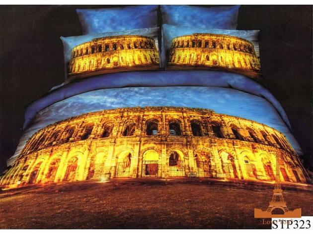 Комплект постельного белья Евро 3D Сатин 200х220  Колизей city stp323, фото 2