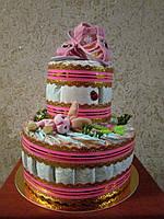 Торт из памперсов (подгузников) - подарок для малыша и его мамы, фото 1