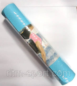 Коврик для йоги и фитнеса Yoga mat (двухслойный голубой,фиолетовый), фото 2